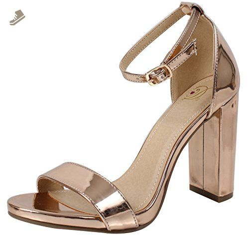 fcbc1dda109 Delicious Women s Shiner Open Toe Ankle Strap Chunky Block Heel ...