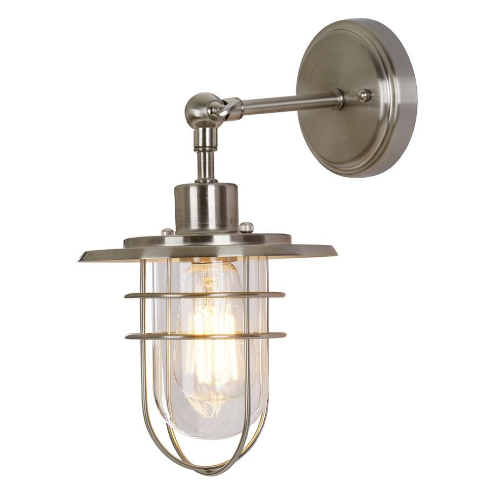 Home Decorators Collection 1-Light Brushed Nickel Wall ...
