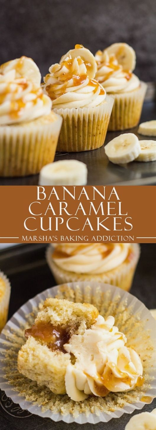 Banana Caramel Cupcakes  Deliciously moist and fluffy banana cupcakes, filled with homemade banana caramel, and topped with a sweet banana caramel frosting! CakeRecipes is part of Caramel cupcakes -