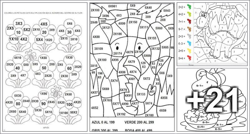 25 Dibujos para colorear segun la zona indicada-Por sumas