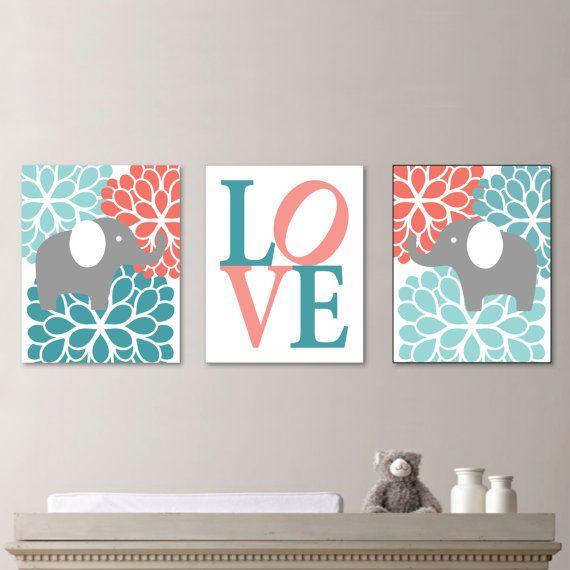 Baby Girl Nursery Art - Flower Elephant Nursery Decor - Kids Wall Art - Baby Girl Gift - Gift for Baby Girl - Teal Coral Turquoise (NS-495) on Etsy, $20.00