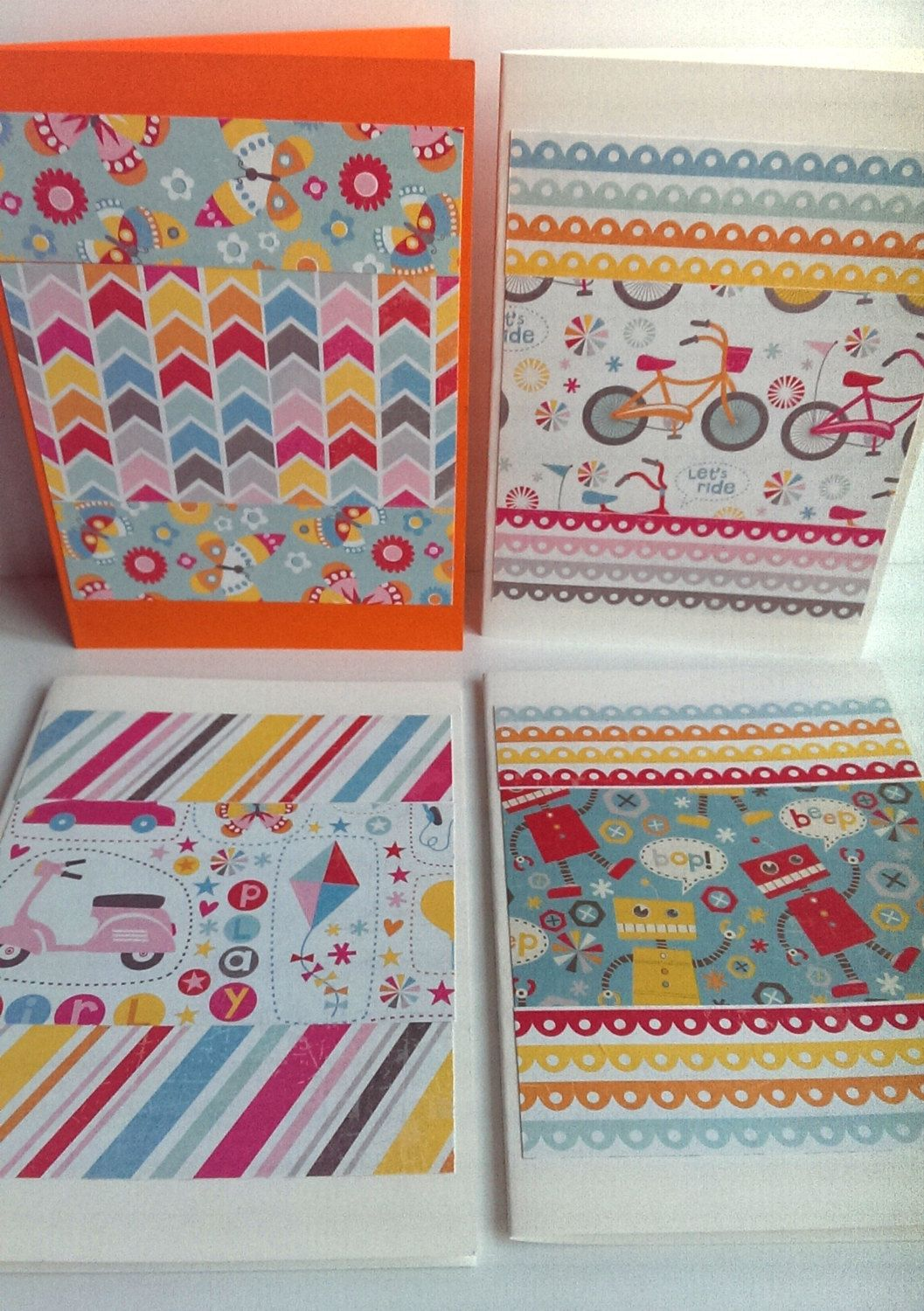 4 handmade greeting cards pack of 4 blank note cards patterned 4 handmade greeting cards pack of 4 blank note cards patterned papers blank kristyandbryce Image collections