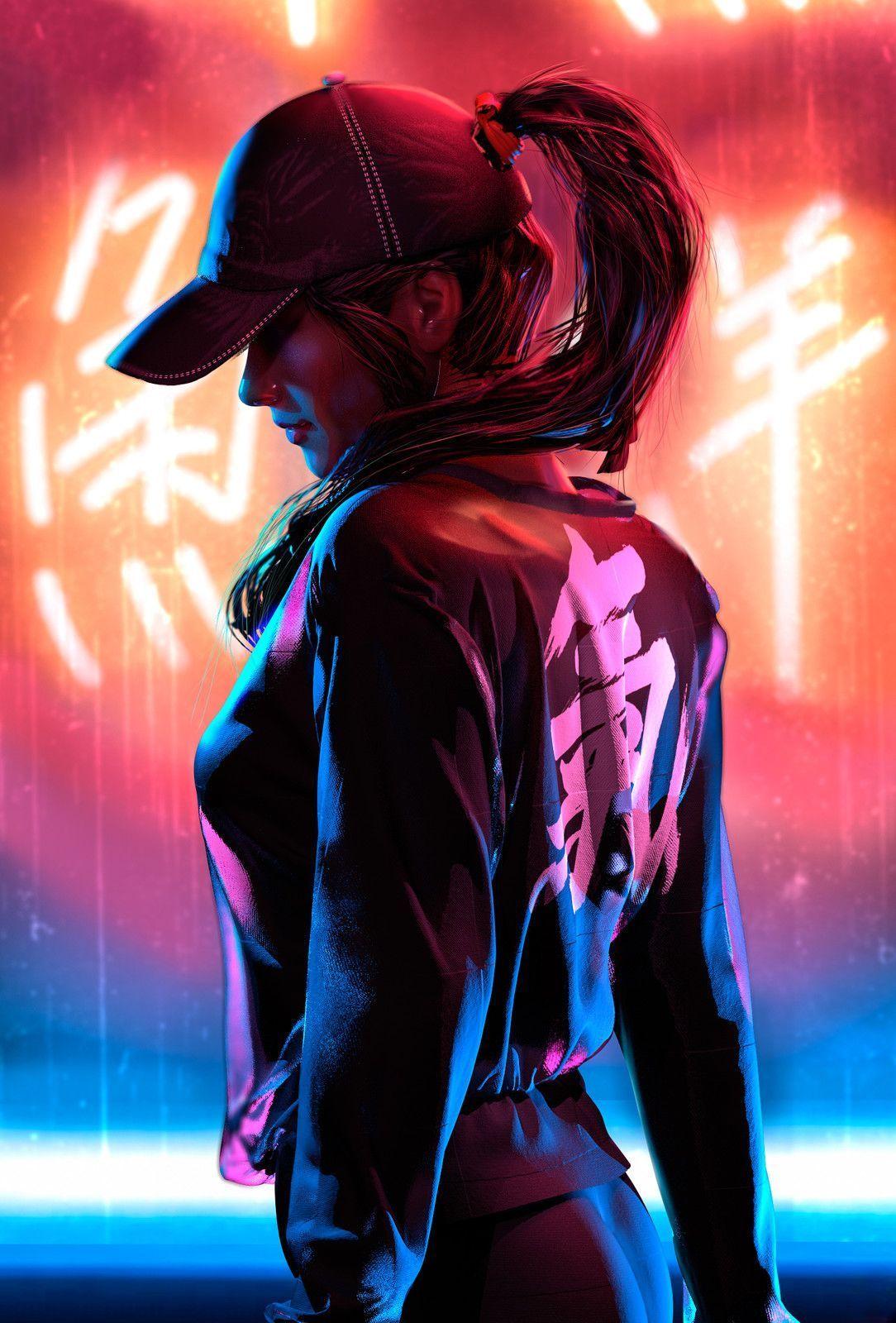 neon anime character lights