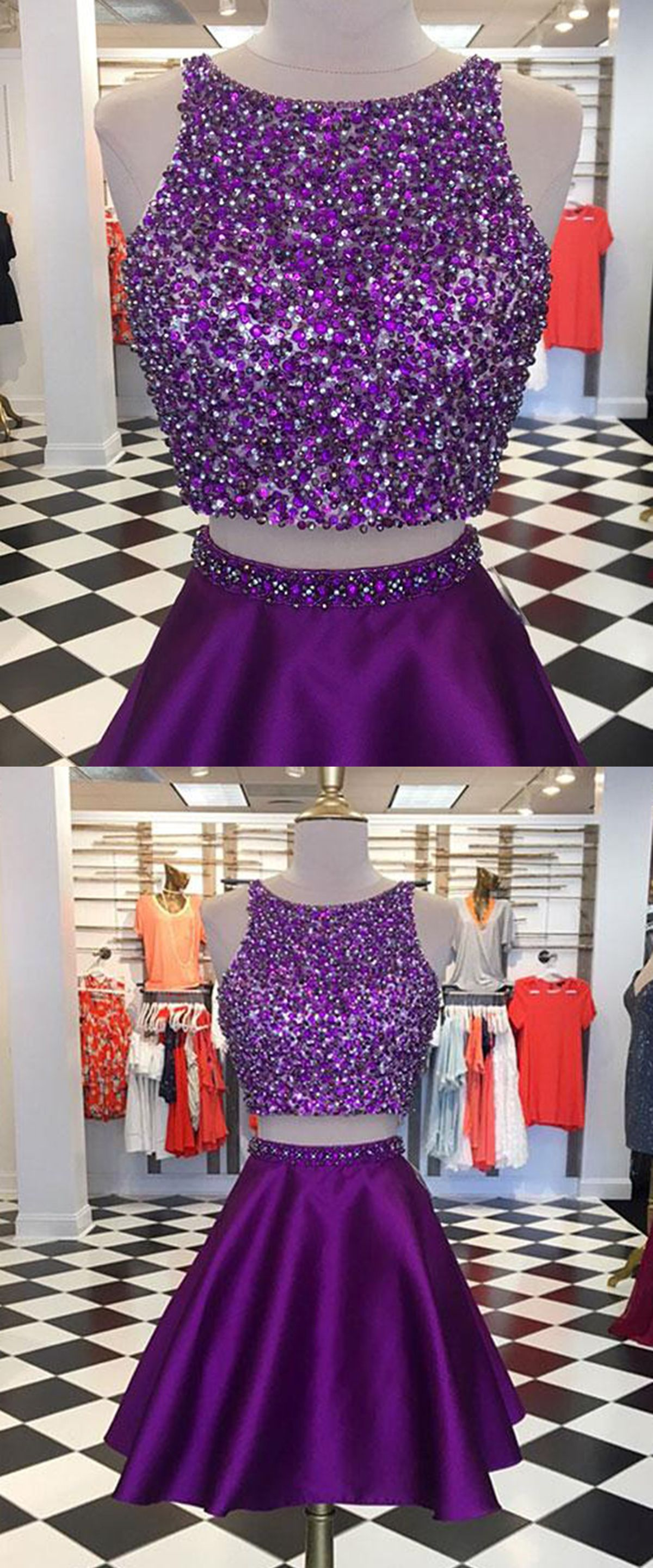 Sequins prom dress two piece prom dress satin prom dress short