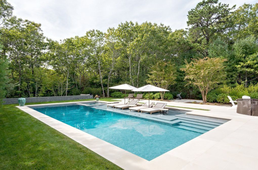 Landscape Timber Woodworking Plans That A Landscape Architect Plans To Enclose A 3000 By Landsca Backyard Pool Landscaping Hampton Pool Pools Backyard Inground
