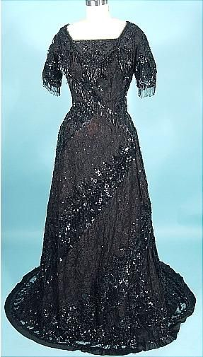 c. 1912 Black Sequin, Beading and Lace Trained Evening Gown