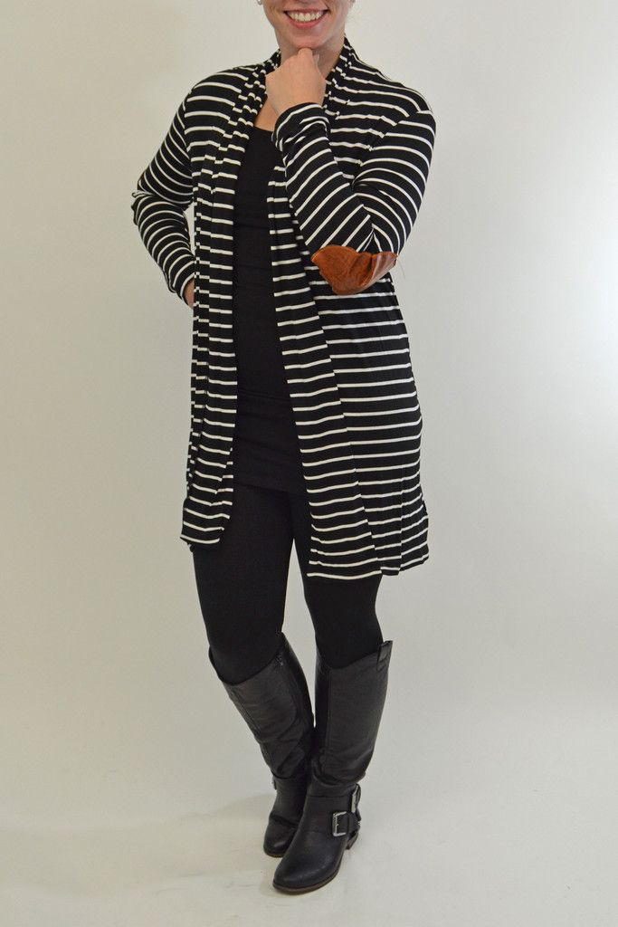Stripe Open Cardi with Elbow Patch