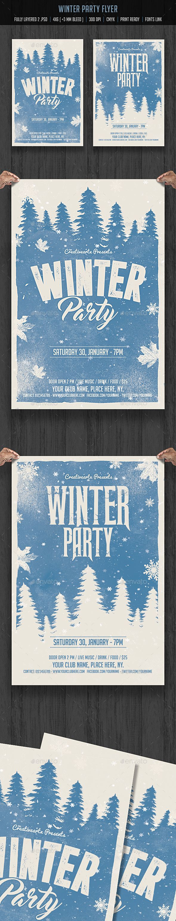 Winter Party Flyer Template Psd  Christmas    Winter