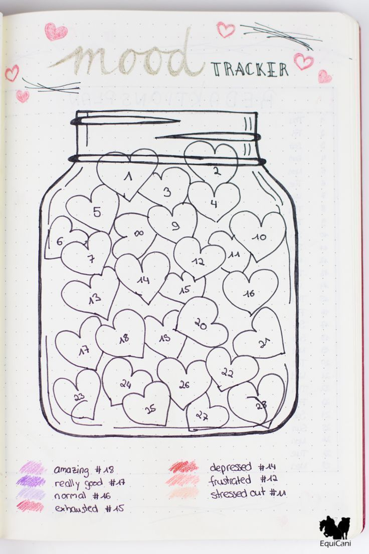Bullet Journal Mood Tracker Valentines Theme Mason Jar Hearts