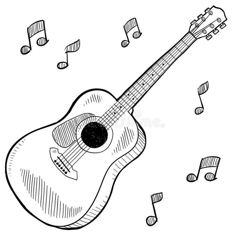 Acoustic Guitar Drawing Doodle Style Acoustic Guitar In Vector Format Affiliate Drawing Doodle Acoustic Guitar Sketch Guitar Drawing Music Drawings