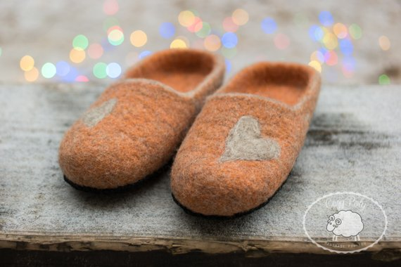 07b29ce417c8b Felted wool slippers wooden clogs orange wool slipper with Leather ...