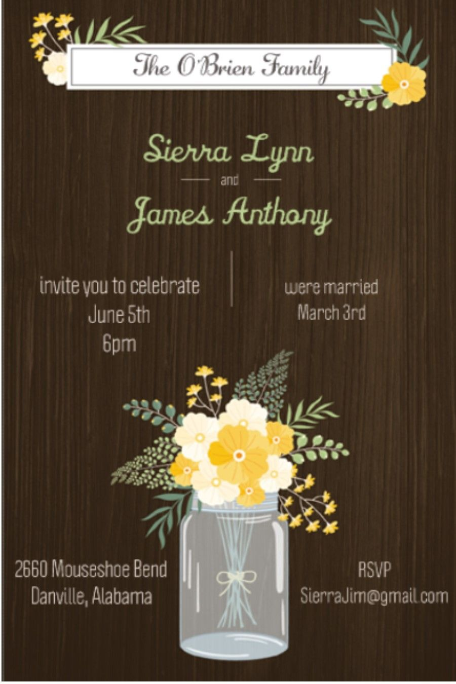 After The Wedding Party Invitations Or Elopement Mason Jar On Wood Reception Only