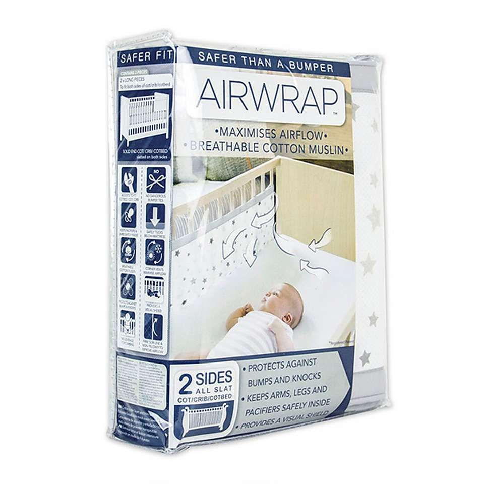Airwrap 4 Sided Breathable Cot Bumper Alternative Silver