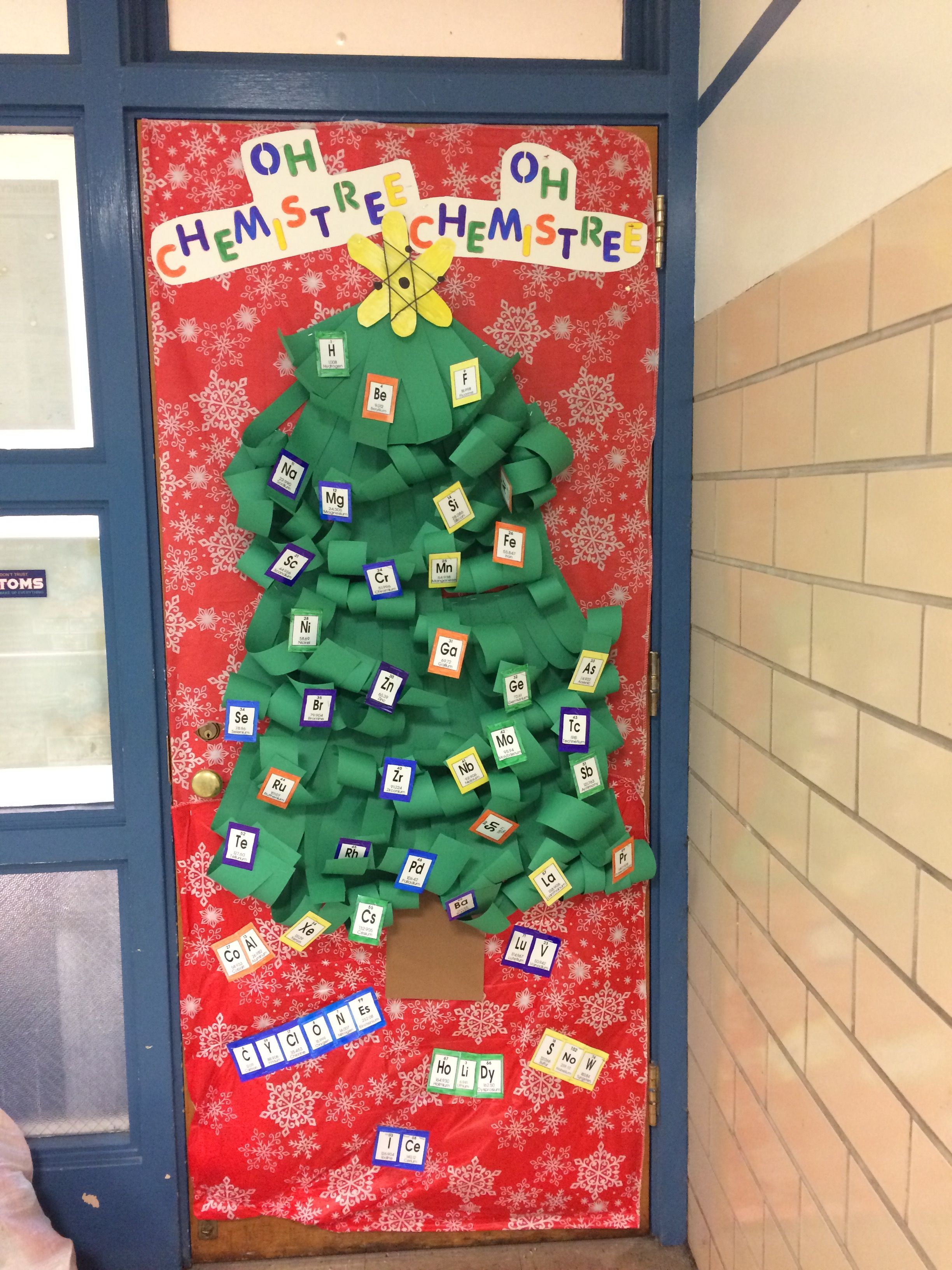 Science Christmas classroom Christmas door periodic table