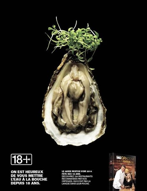 """'18+ ' -  Naughty and sensual advertising for a restaurant guide.  An advertising poster campaign for the Canadian food guide """"Guide des Restos 2014"""" plays on the ambiguity of the """"18 +"""" for its 18th edition… Created by Publicis and the photographers Leda & St. Jacques."""