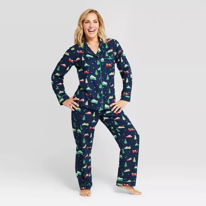 Women's Holiday Car Flannel Pajama Set Navy
