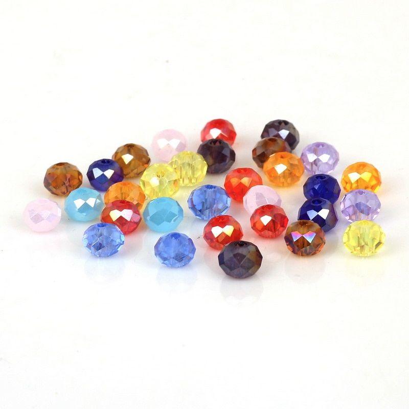 Free 100Pcs Blanc Aérographe à facettes verre cristal Blotter Perles Spacer Beads 4 6 8 mm