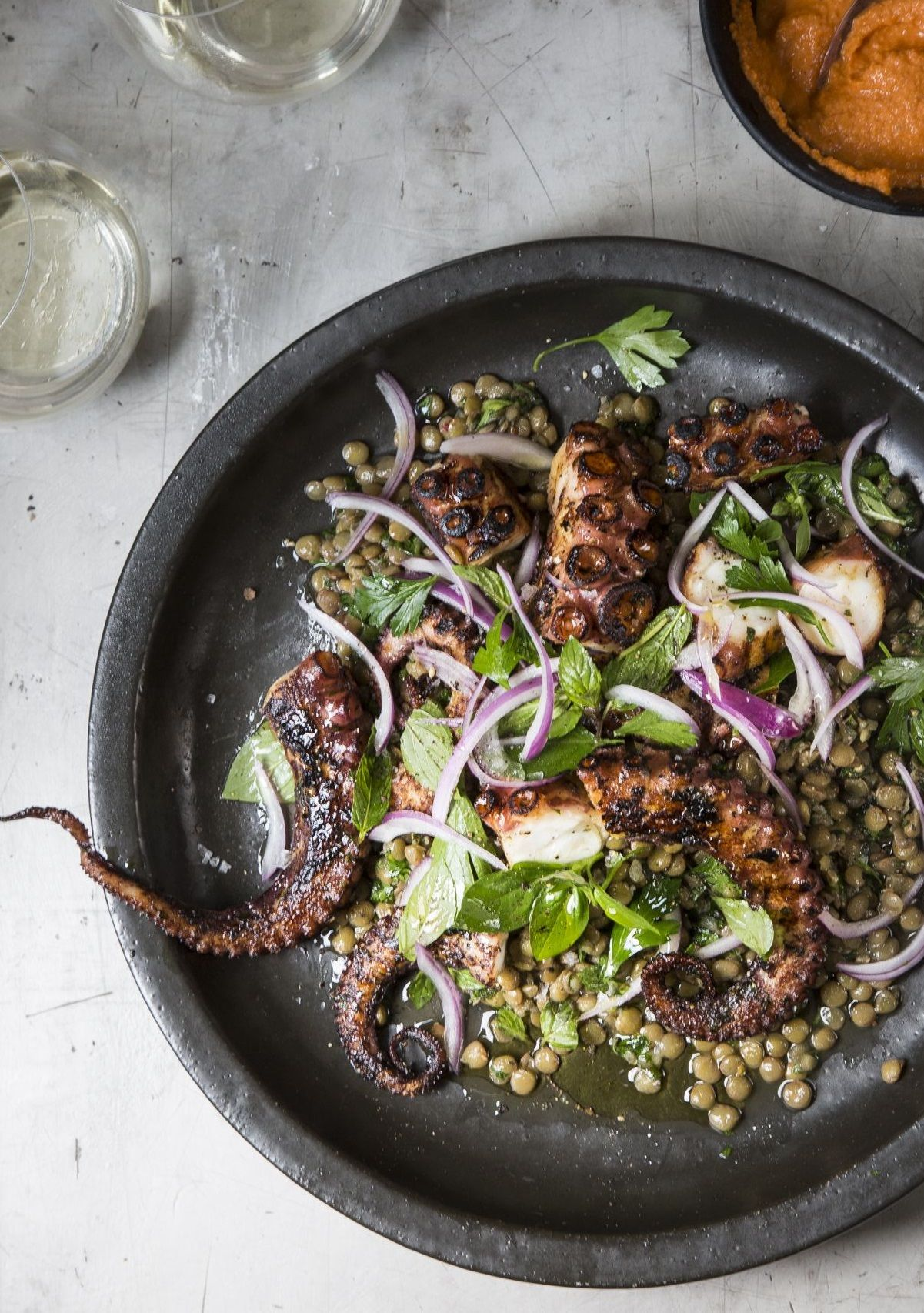Grilled Octopus With Green Lentils And Romesco Seafood Recipes Cooking Recipes Food