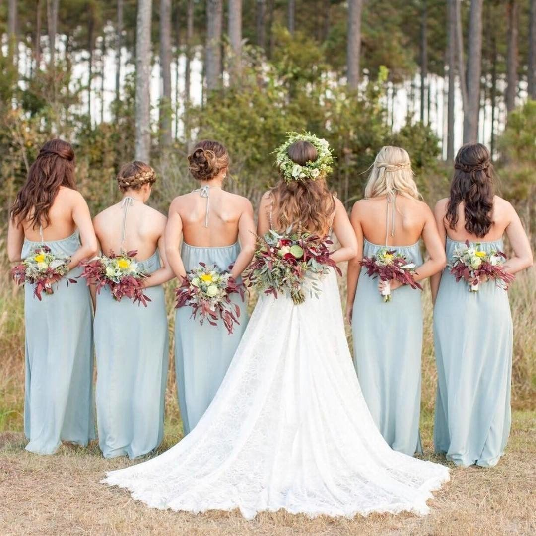 8474adec773 Boho Bridesmaids all in our Heather Halter ~ Silver Sage  mumuweddings