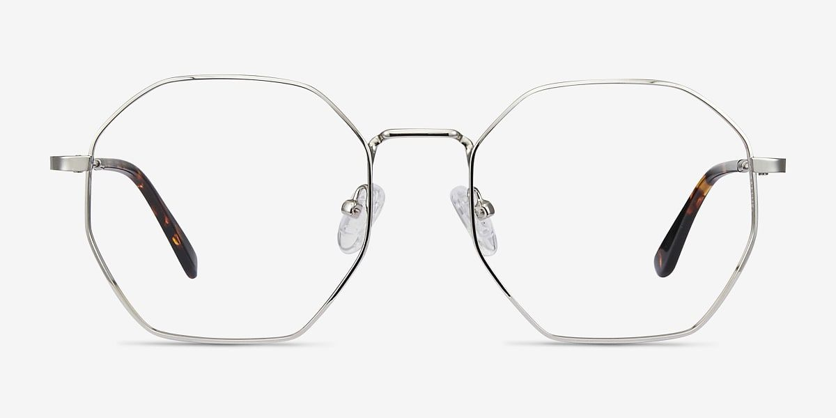 Octave Geometric Silver Frame Eyeglasses Eyebuydirect Silver Frame Glasses Eyebuydirect
