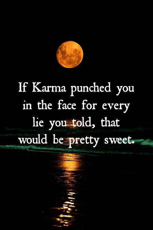 If karma punched you in the face for every lie you told i for All about karma