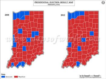 Indiana Election Results Map 2008 Vs 2012   USA President\'s Election ...