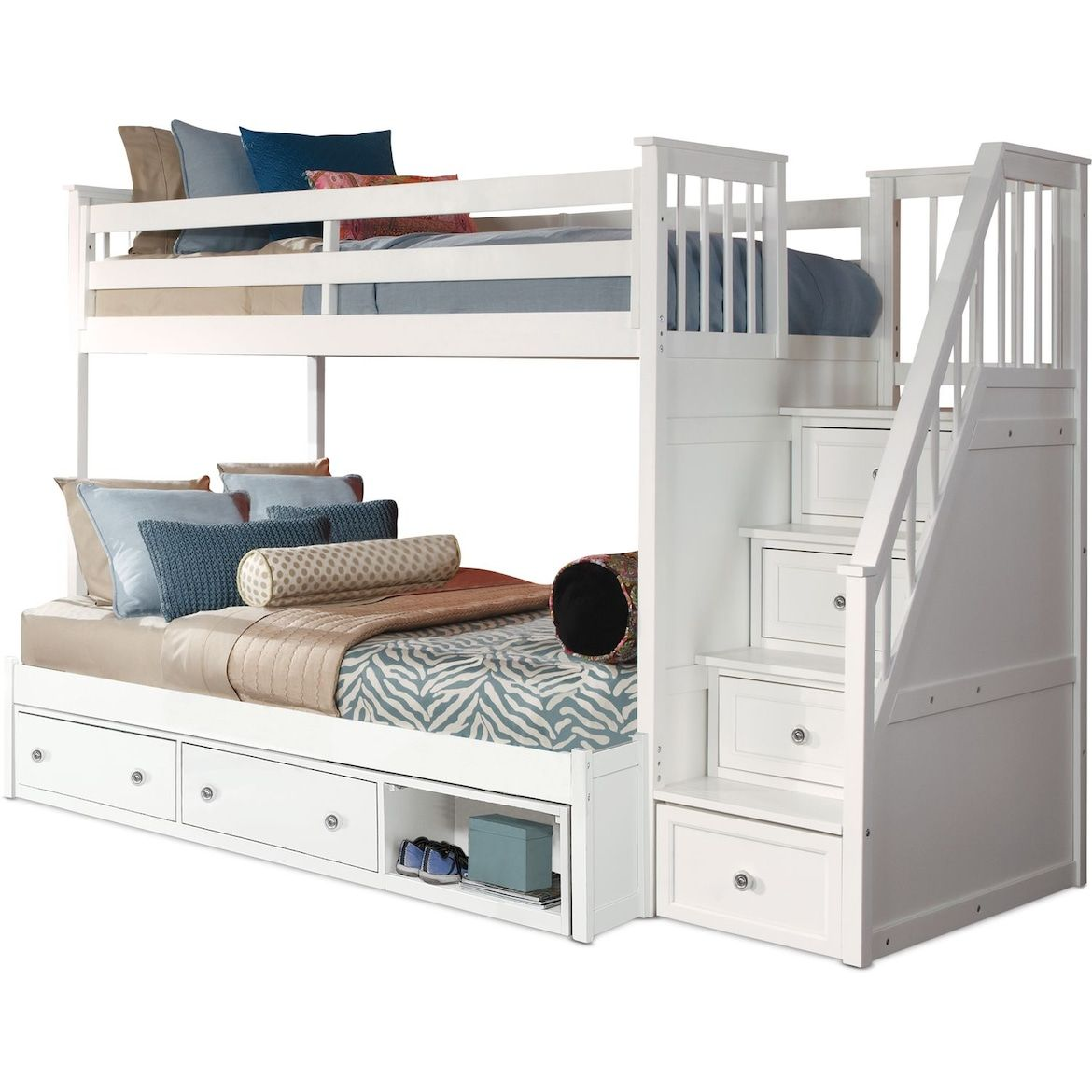 Flynn Storage Bunk Bed With Storage Stairs Value City Furniture And Mattresses Bunk Beds With Storage Bunk Beds For Girls Room Bunk Bed With Trundle Bunk beds with drawers underneath