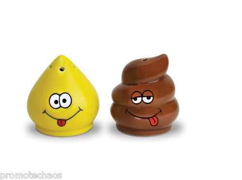 Gag Gift NEW /& FREE SHIPPING Salt and Pepper Shaker Set Tinkle and Turd
