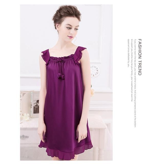 d0543d5b0a1 2018 Summer New Ladies Sleepwear Nighties Sexy Silk Nightgowns Female Sexy  Women Nightdress Negligees Plus Size L XL 2XL