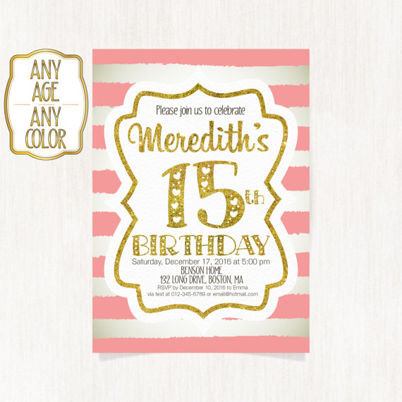 15th birthday invitation fifteenth birthday party gold glitter 15th birthday invitation fifteenth birthday party by coolstudio filmwisefo