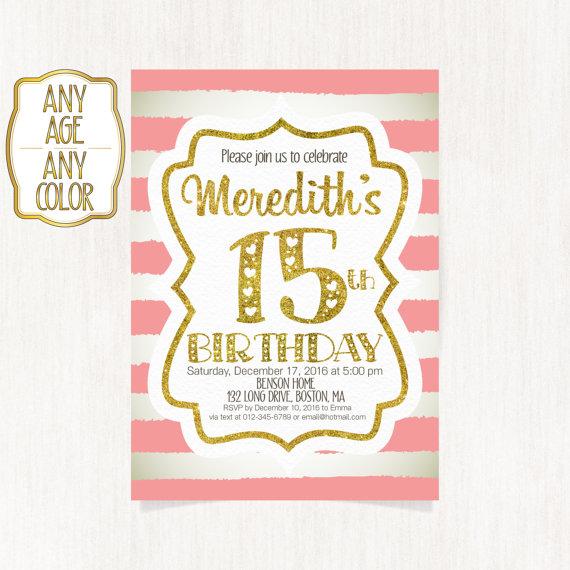 15th birthday invitation Fifteenth birthday party Gold glitter – 15th Birthday Invitation