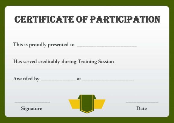 Sample Training Participation Certificate Template  Training