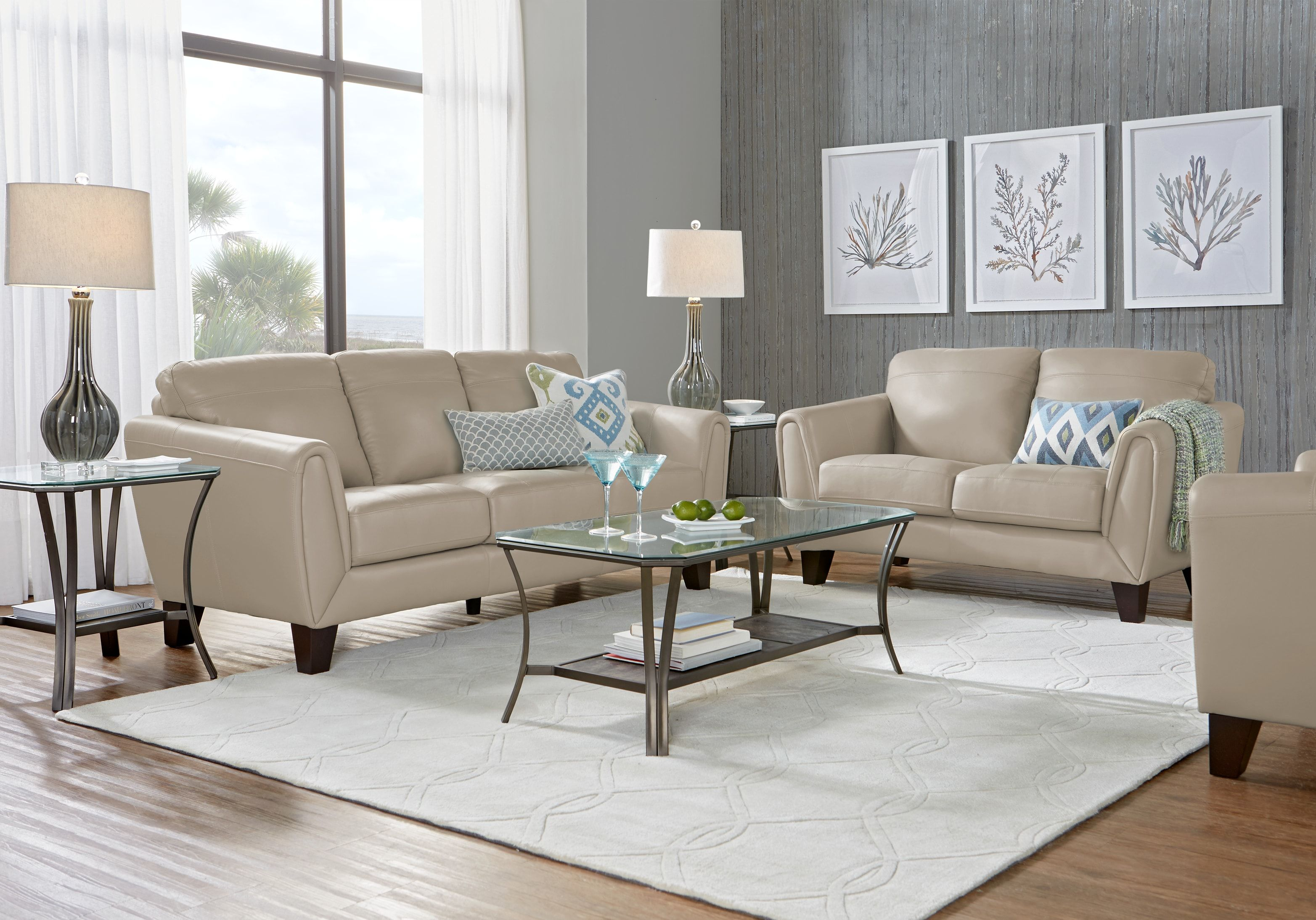 Livorno Beige Leather 3 Pc Living Room Leather Living Room Furniture Leather Living Room Set Living Room Sets
