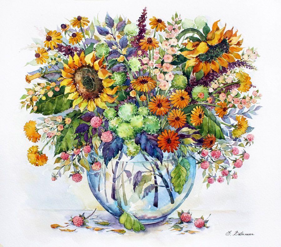 Картинка ваза с цветами художника цветными карандашами