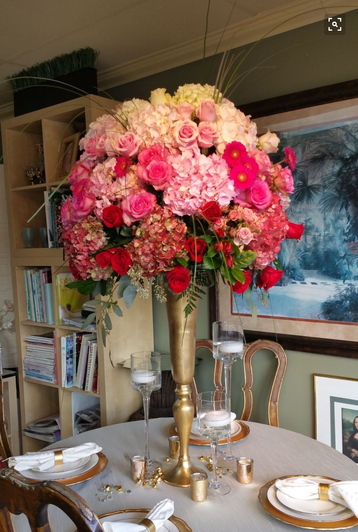 Pink Ombre Centerpiece By A Marc In Design Ft Lauderdale Fl