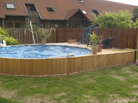 Intex frame Pool in Erde eingelassen aménagement piscine Pinterest - photo d amenagement piscine
