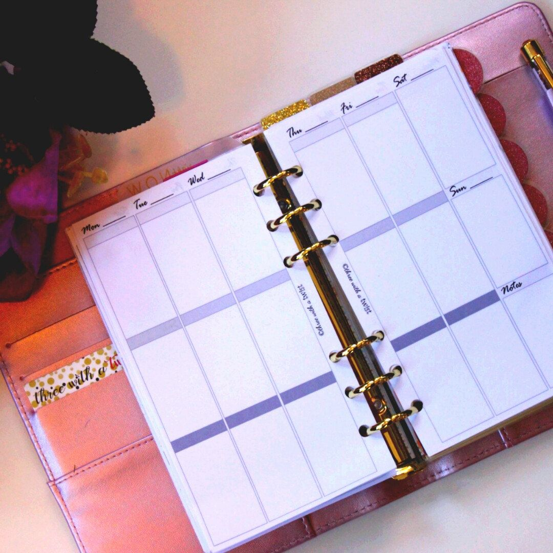 Week On Two Pages Personal Sized Vertical Calendar
