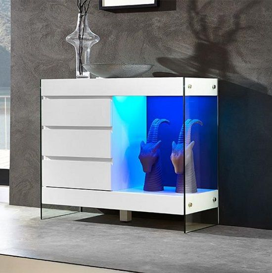 Superb Caspa Sideboard With White Matt Shelves And Glass With Led Light   Buy  Modern Glass Sideboard, Furniture In Fashion