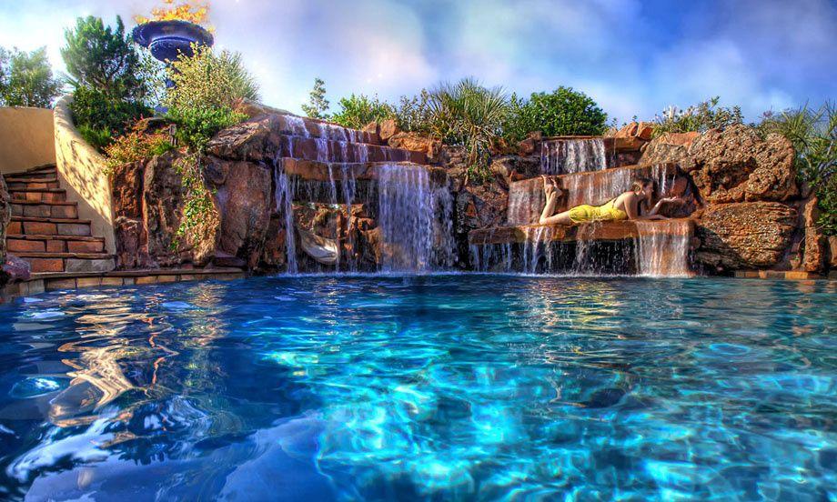 60 Waterfall Pool Ideas Pool Waterfall Cool Pools