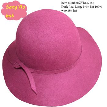b11a4ee5a45f3 Special wholesale dark red floppy hats for ladies and women100% wool felt  wear in Winter ,fall ,spring and topee style