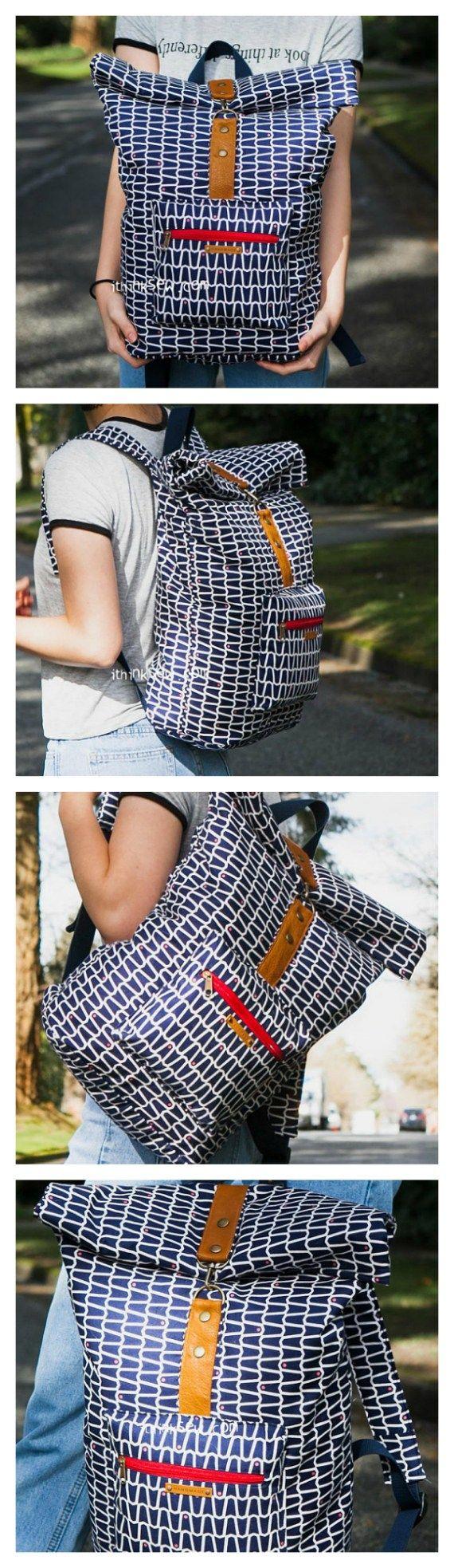 Roxanne Rolltop Backpack pdf pattern – Coser bolsos modernos