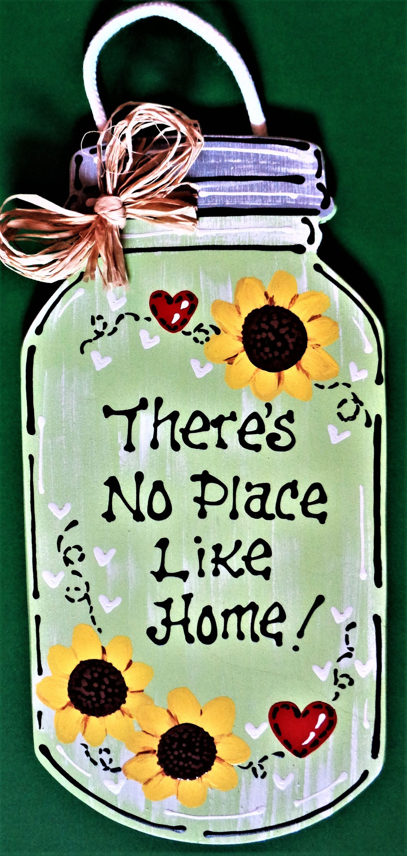 Thereus no place like home mason jar sign hanging door family wall