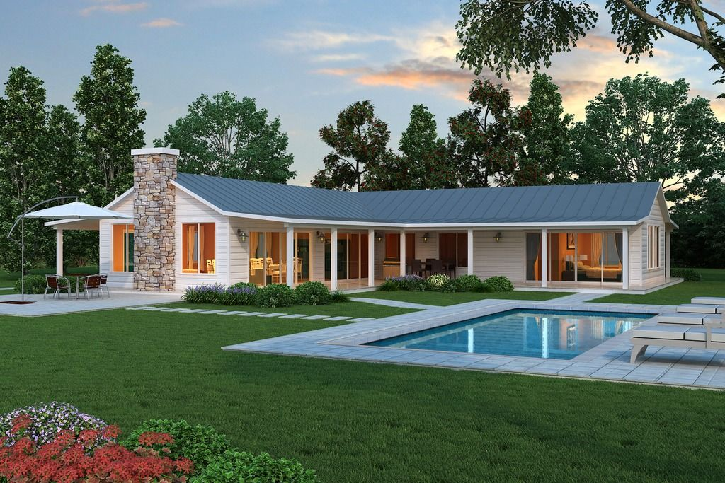 modern L shaped farmhouse plan, Cliff May style ranch house.