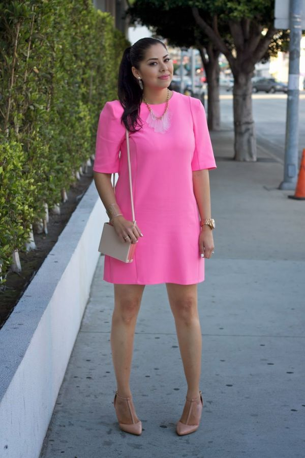 Hot Pink Sheat Dress with Nude, River Island Hot Pink Sheat Dress ...