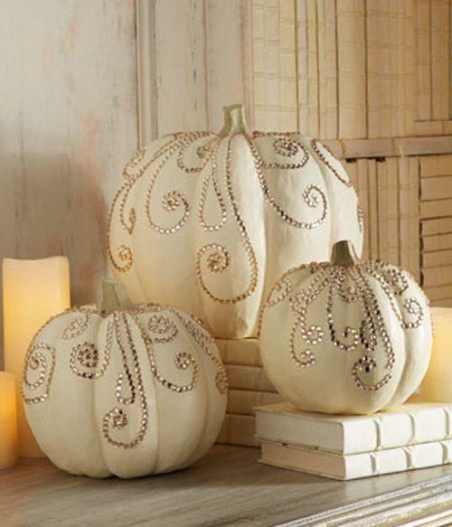 halloween painted pumpkins ivory jeweled pumpkins - How To Paint Pumpkins For Halloween