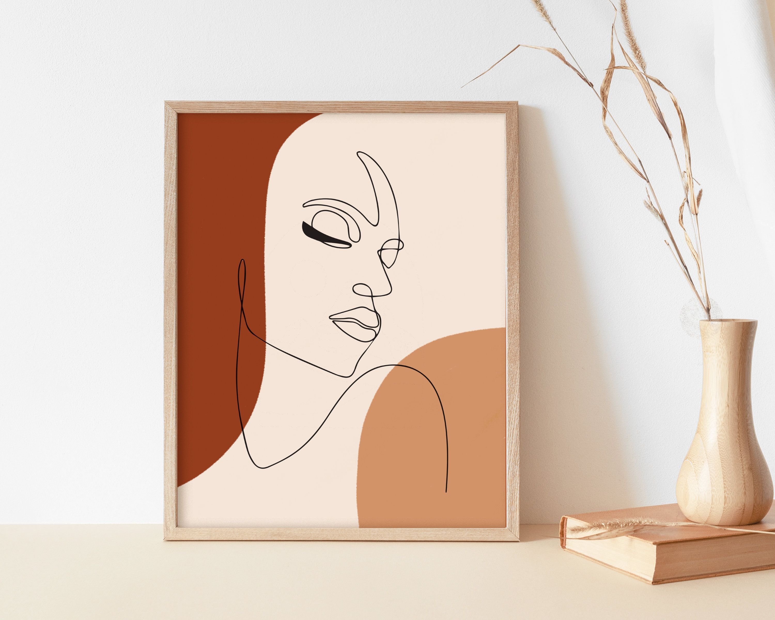 Abstract face line art print woman face line drawing boho