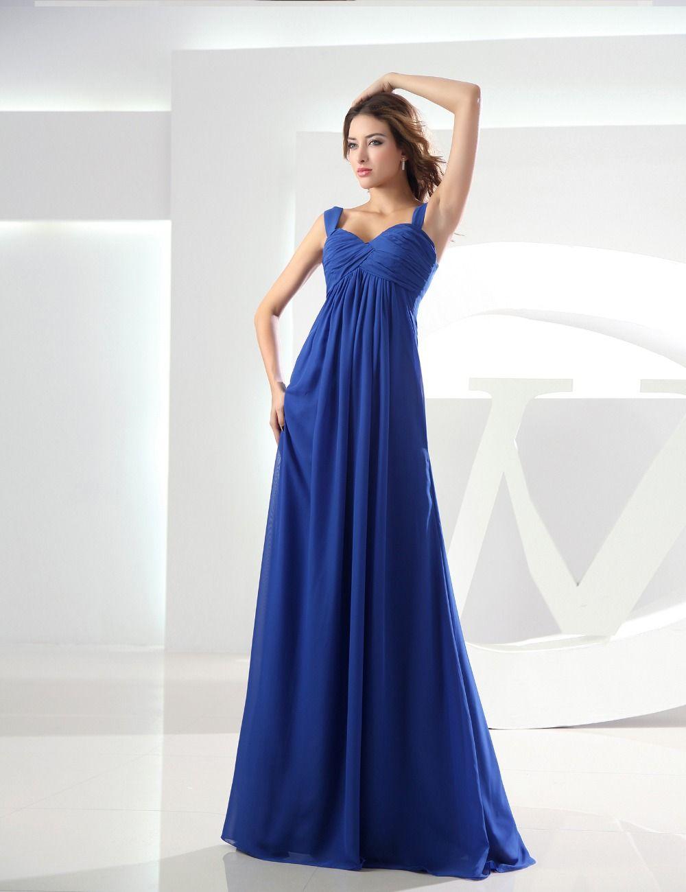 Don\'s Bridal 2016 long chiffon modest royal blue pregnant women ...