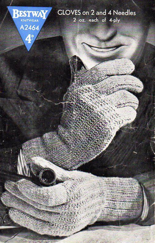 Mens Gloves Knitting Pattern Pdf Mans 4ply Gloves Vintage 40s 2