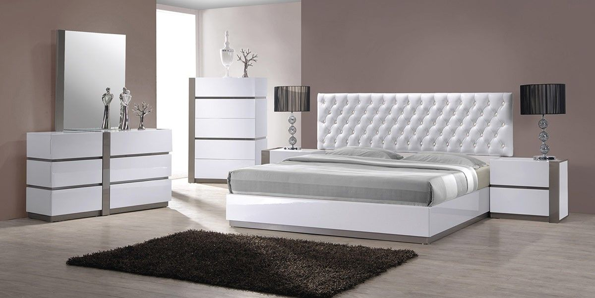 Vero - Modern White Tufted Bedroom Set | bedroom ideas ...