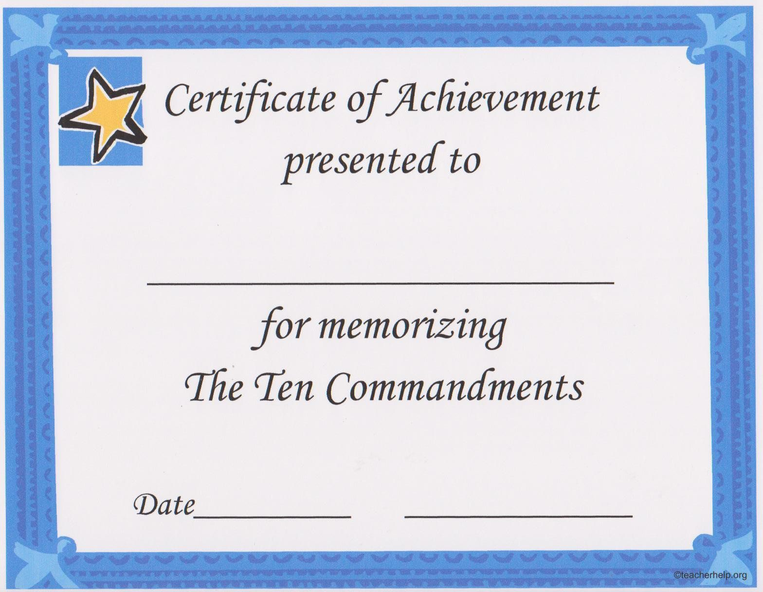 A certificate that can be given for memorizing the ten a certificate that can be given for memorizing the ten commandments and can be downloaded from 1betcityfo Gallery
